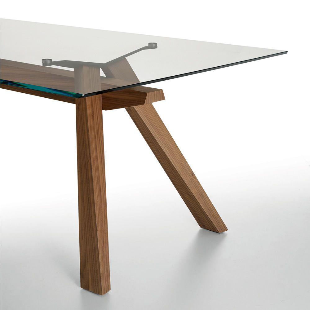 Zeus tavolo fisso midj con struttura in legno - Tavolo con piano in vetro ...