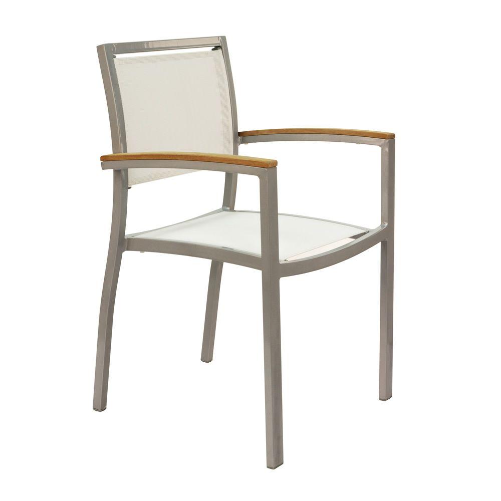 tt9 chaise empilable avec accoudoirs en aluminium et textil ne inserts en techno wood id ale. Black Bedroom Furniture Sets. Home Design Ideas