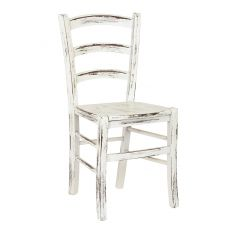 110 Scratch - Rustic chair in white lacquered wood finish scratched, with seat in wood or upholstered in imitation leather