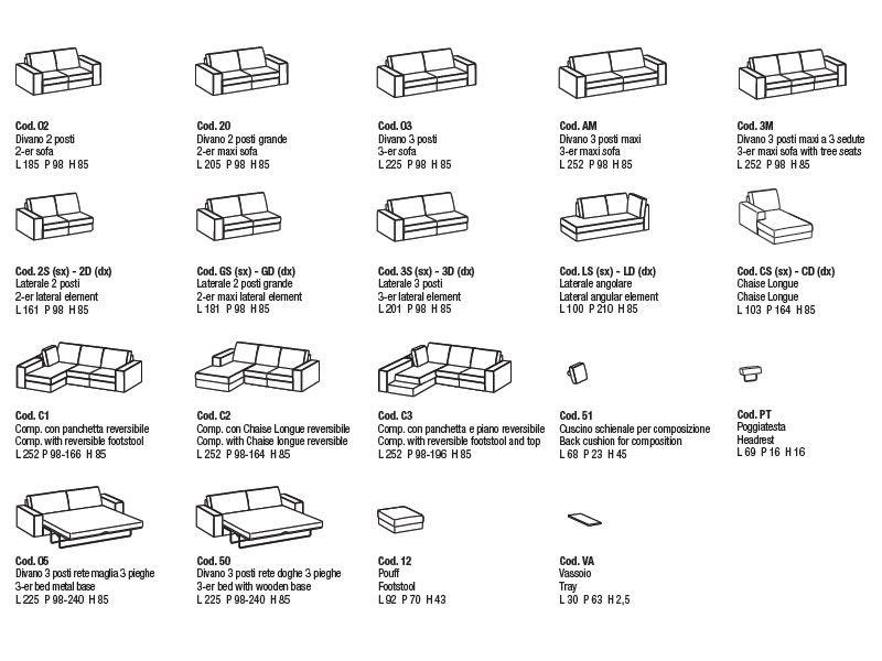 Simba divano moderno a 2 posti 3 posti o 3 posti maxi - Misure standard divano ...