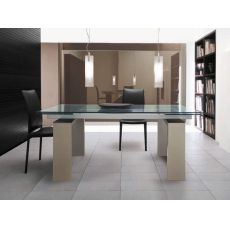 Brooklyn 8000 - Tavolo Tonin Casa in legno laccato, piano in vetro trasparente, 160 x 90 cm allungabile