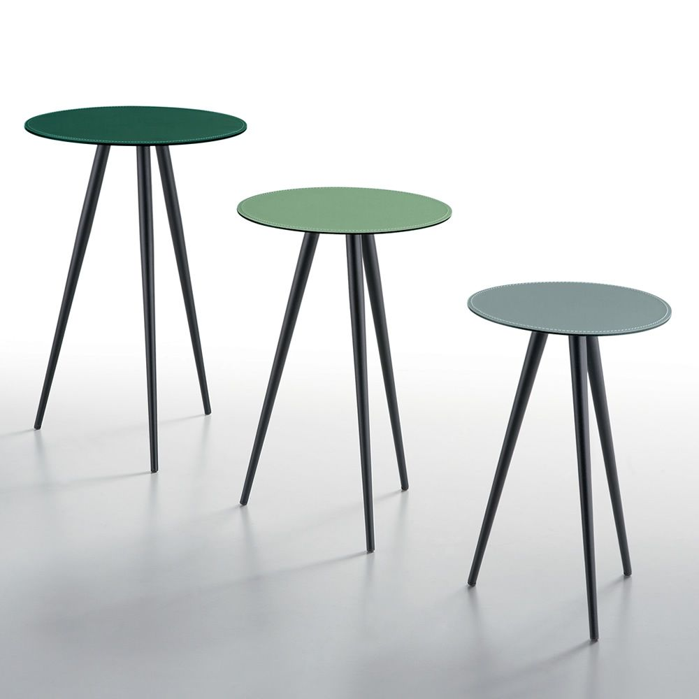Dj Midj Coffee Table With Round Hide Top Different Sizes: MIdj Coffee Table Made Of Metal And Hide, Different