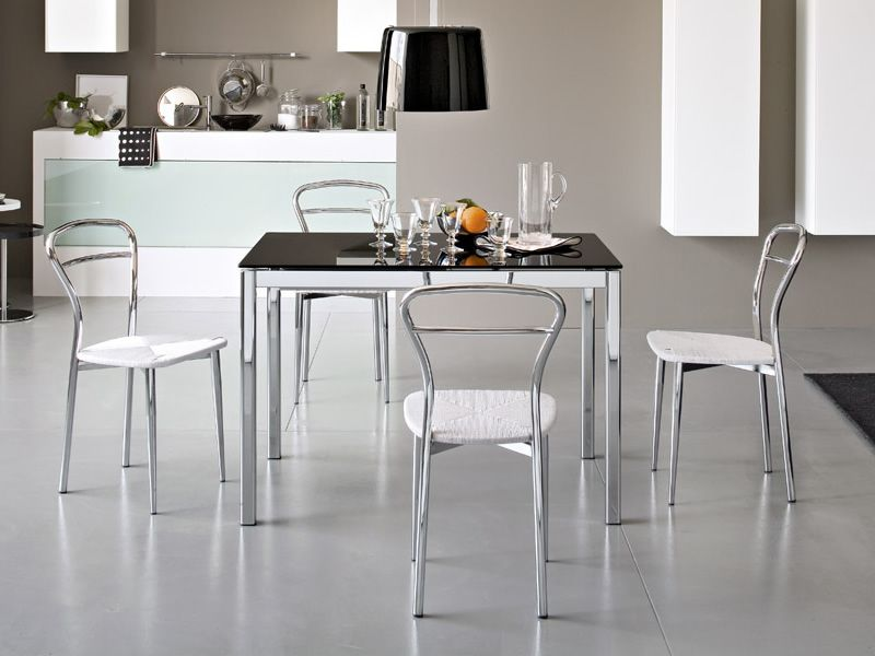 Cs4031 performance calligaris metal table glass top for Calligaris outlet on line