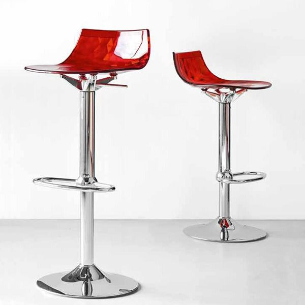 CB1475 Ice | Swivel and adjustable stool, made of chromed metal and red SAN