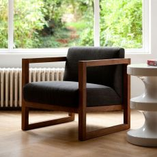 Square Root - Ethnicraft teak armchair with fabric covering, with armrest