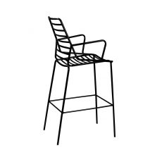 Link S - Metal stool with armrest, fixed, seat height 75 cm, available in differnt colours