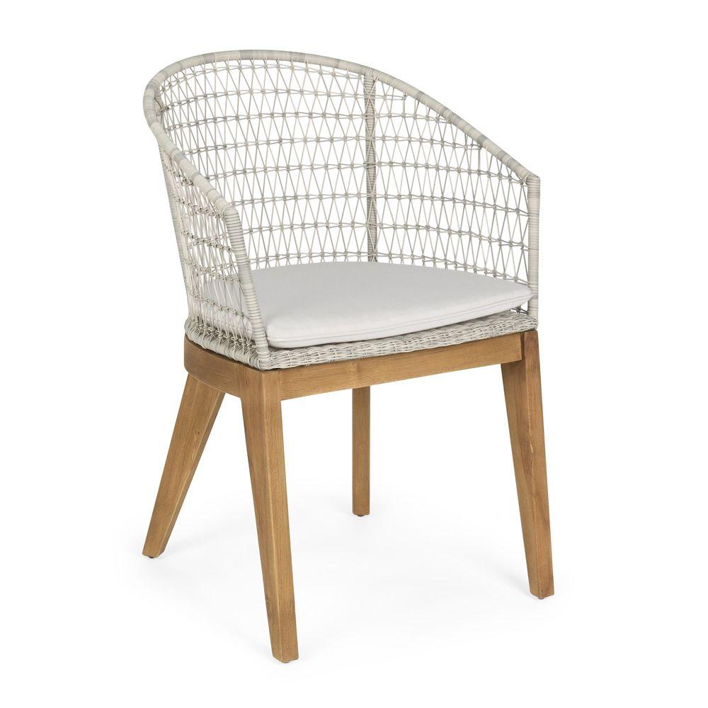 milo fauteuil en teck assise en entrelacement de fibres synth tiques avec coussin id ale. Black Bedroom Furniture Sets. Home Design Ideas