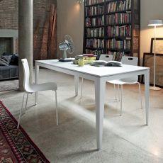 Denver 42.64 - Tavolo allungabile, 140 x 90 cm, in metallo, con piano in legno, laminato o vetro, disponibile in diversi colori
