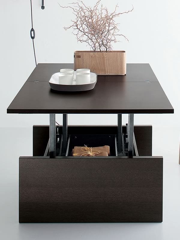 Marte Extendable Coffee Table In Wood X Cm Height - Liftable table