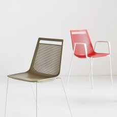 Akami - Stacking metal chair for bars and public places, with technopolymer seat, with or without armrests, available in different colours, also for outdoor