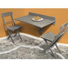 Martignano T2 - Tavolo pieghevole in legno, piano rettangolare 90x58 cm, per esterno