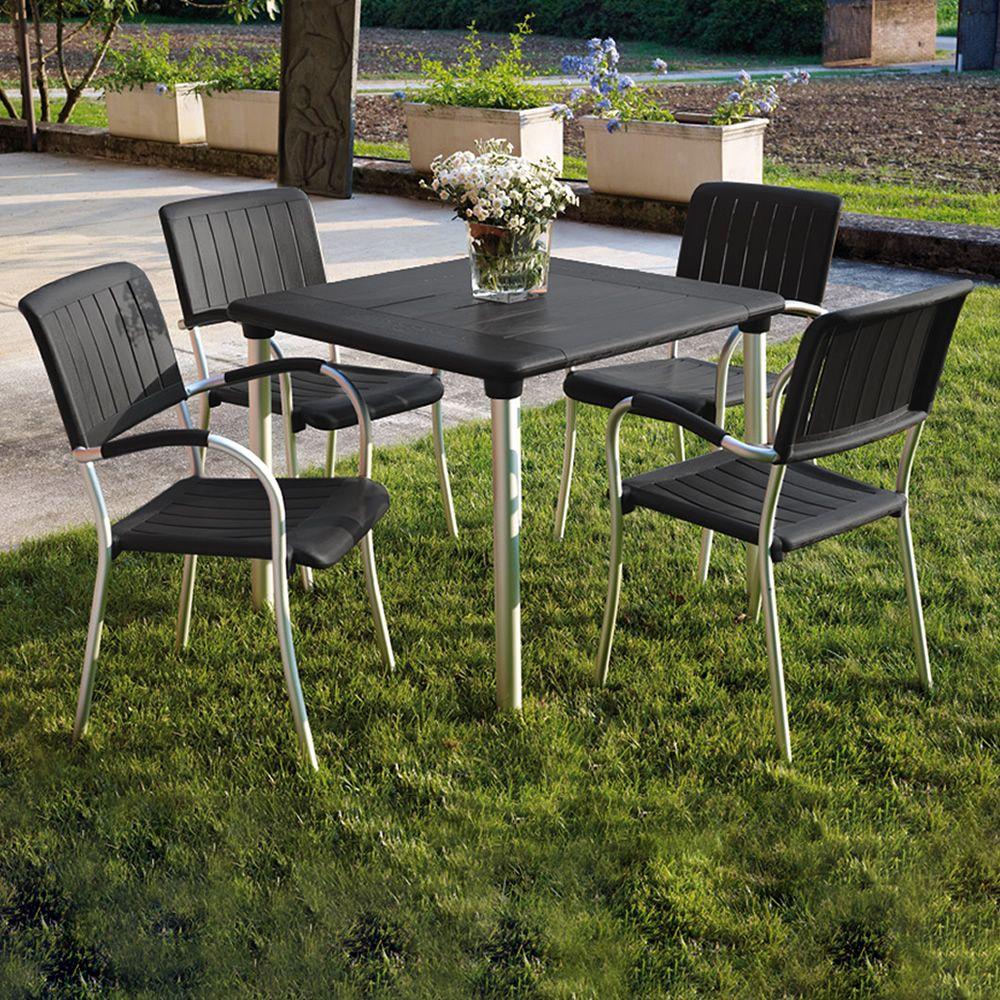 Maestrale 90 table en m tal plateau en r sine 90x90cm for Plateau pour table de jardin
