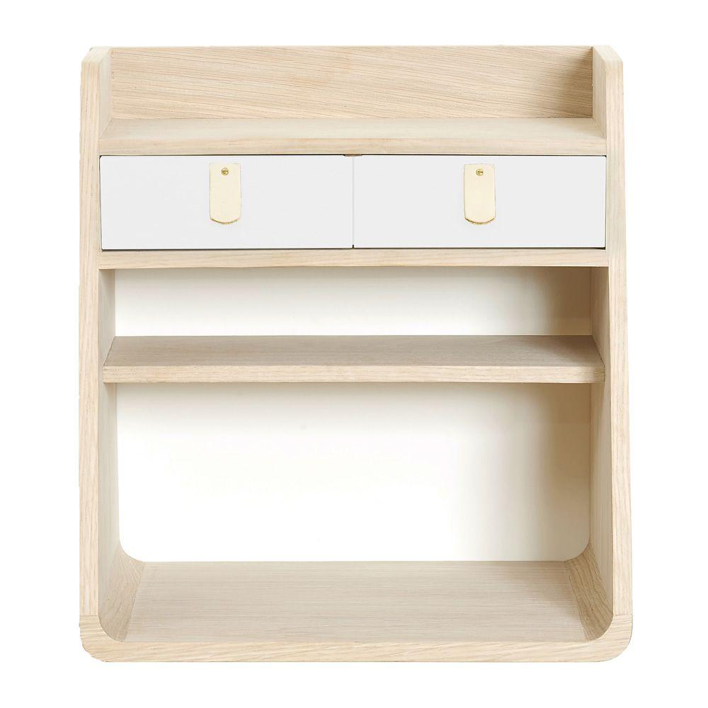 Suzon mueble de pared en madera con dos cajones sediarreda - Mueble blanco pared ...