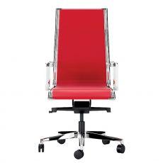 Dekora High - Poltrona direzionale con schienale alto, disponibile con sedile in rete plastica oppure imbottito, rivestito in tessuto, pelle o similpelle