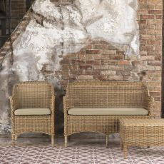 Antigua D - Garden daybed in synthetic rattan with removable lining cushions