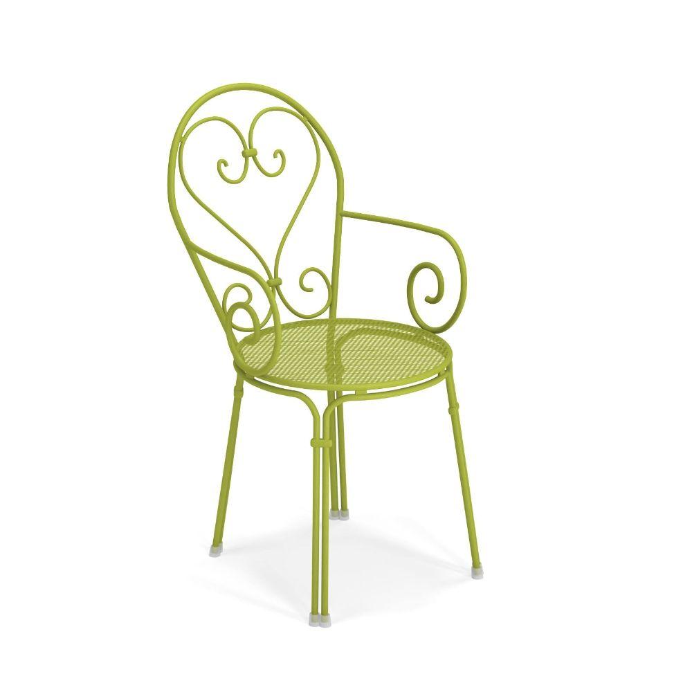 Pigalle 910 fauteuil emu en m tal empilable en for Chaise de jardin verte