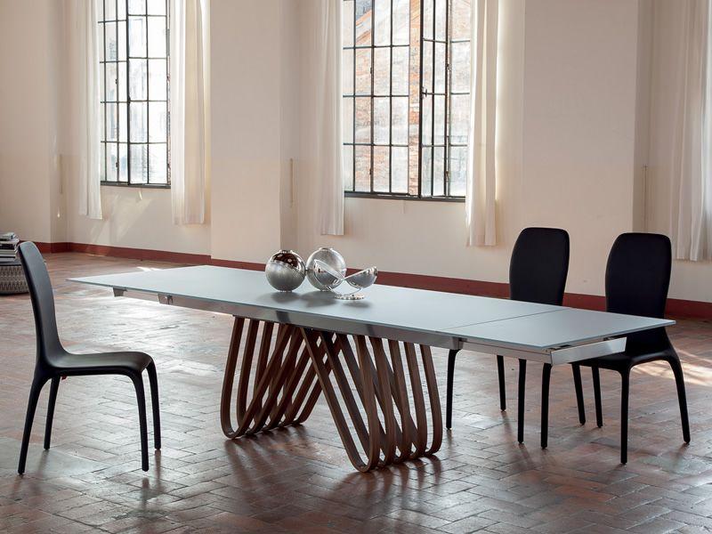 Arpa 8002 tavolo allungabile tonin casa in legno con piano vetro