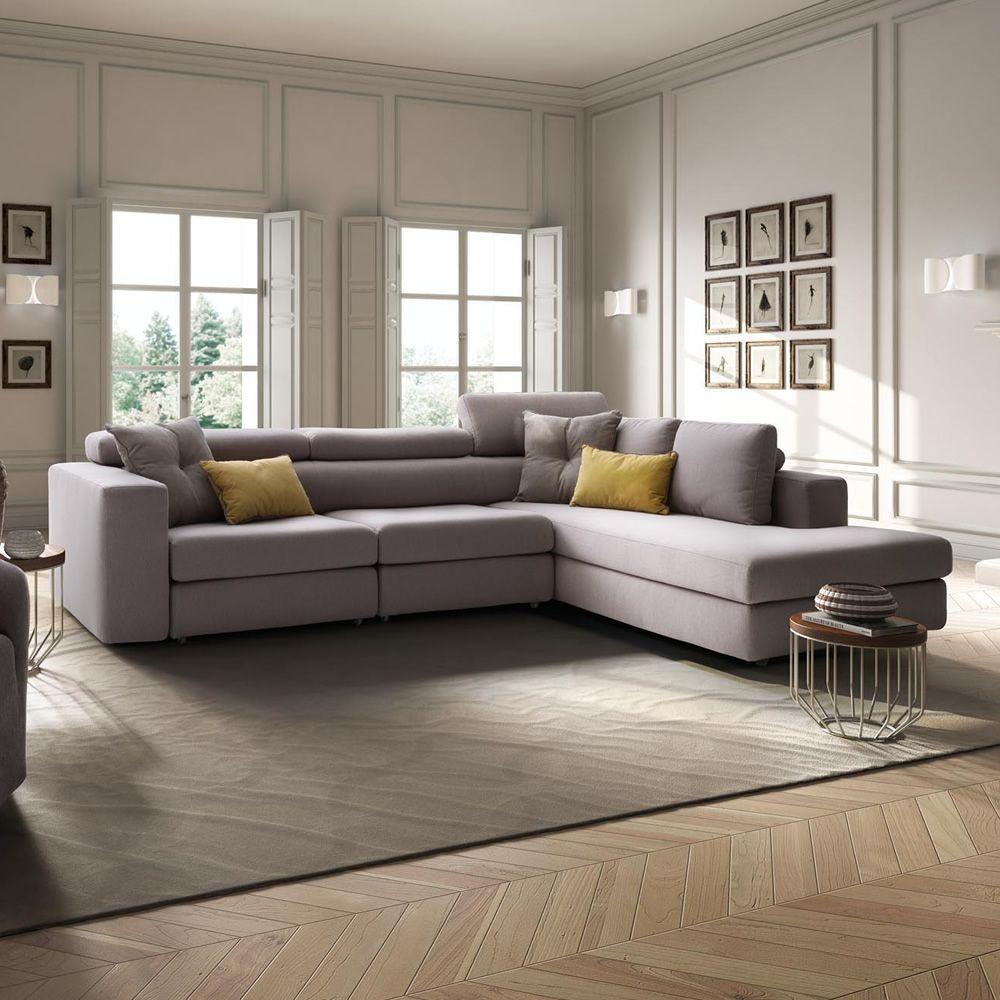 Paloma maxi divano a 3 posti mobili con chaise longue maxi poggiatesta reclinabili - Divano 4 posti con chaise longue ...