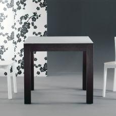 Kubo - Tavolo allungabile Colico Design, in legno con piano in vetro, disponibile quadrato 85x85 cm o rettangolare 130x85 cm
