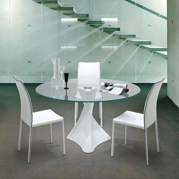 La defense 8045 mesa redonda tonin casa en m rmol for Marmol blanco cristal