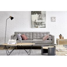N101 - Ethnicraft wooden sofa, upholstered with fabric, different colours and sizes available
