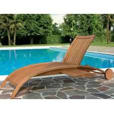 Harmony L - Sun lounger in robinia wood, adjustable backrest, with or without armrests
