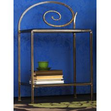 Capriccio D - Iron bedside table with glass tops, in several colours