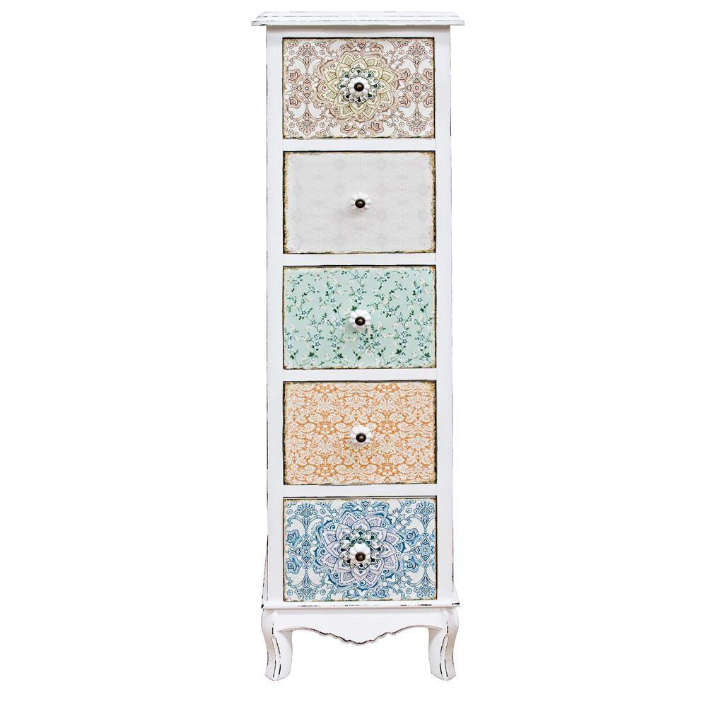 falesia 5c commode haute shabby chic en bois avec 5 tiroirs sediarreda. Black Bedroom Furniture Sets. Home Design Ideas