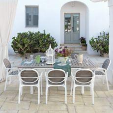 Alloro - Tavolo allungabile in metallo, piano in resina in diverse misure, per giardino