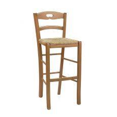 125 S - Country style high stool in wood, height 73 cm, different dyes available, with seat in wood, straw or different types of fabric