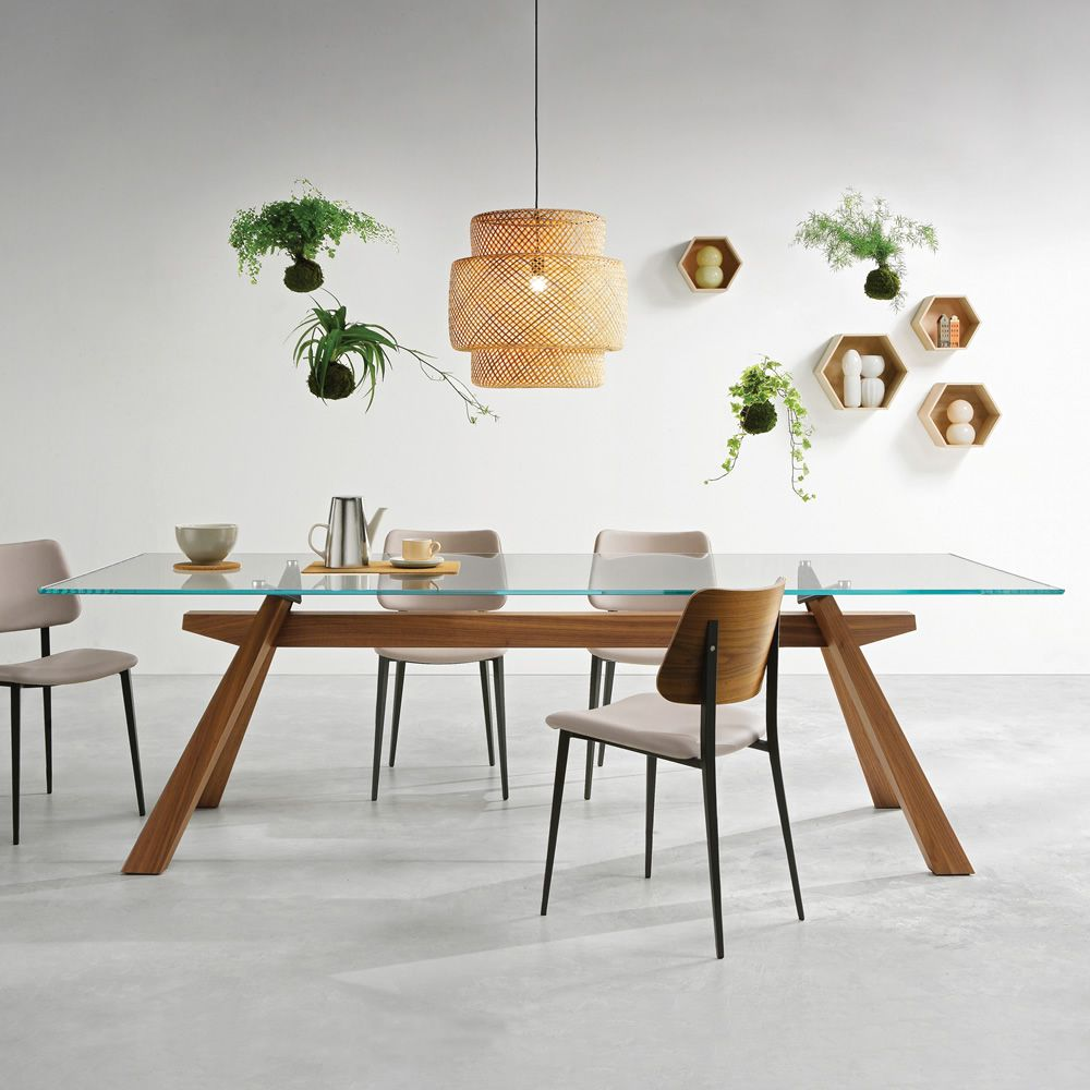 Zeus mesa fija midj de madera contrachapada con tapa de for Mesas de madera con cristal