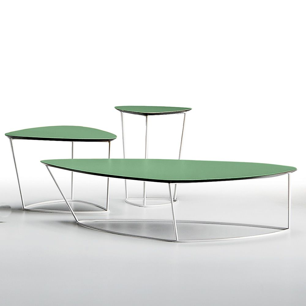 Dj Midj Coffee Table With Round Hide Top Different Sizes: Guapa CT: Midj Side Table Made Of Metal And Natural Hide