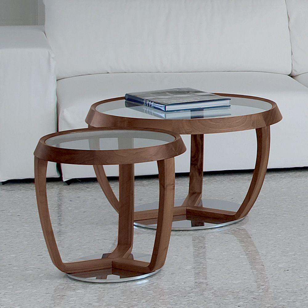 Time small tavolino da salotto tonon con piano tondo in for Tavolini in legno e vetro