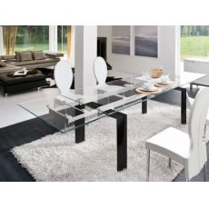 Cannaregio 8017 - Tonin Casa aluminium table, transparent glass top, 160 x 90 cm extendable