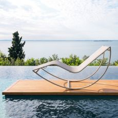 Kot - Modern sun lounger in aluminium and textilene, available in several colours