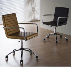 H5-DPLR - Sedia da ufficio Midj in metallo, girevole e regolabile, rivestita in pelle, similpelle o tessuto, diversi colori, con ruote