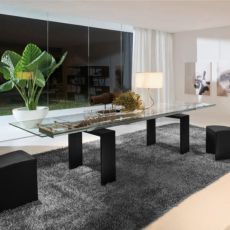 Brooklyn 8000 - Tonin Casa table made of lacquered wood, different colours, transparent glass top, 160 x 90 cm extendable