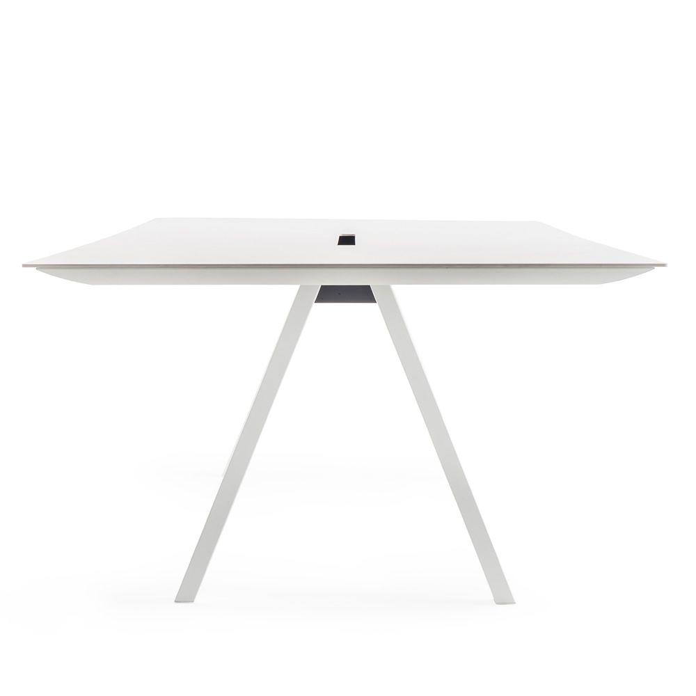 arki table fester designer tisch aus metall mit kompaktplatte rechteckig quadratisch oder. Black Bedroom Furniture Sets. Home Design Ideas