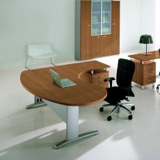 Idea System 02 - L-shaped desk for office, with drawers, in metal and laminate, available in different dimensions