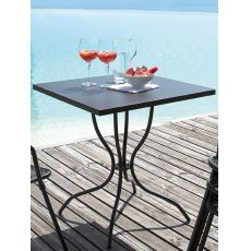 Candle - Table de jardin en métal, plateau carré disponible en différentes dimensions, avec trou porte-parasol