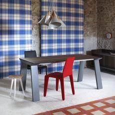 Artù - Tavolo rettangolare Miniforms in legno, fisso o allungabile, diverse dimensioni disponibili