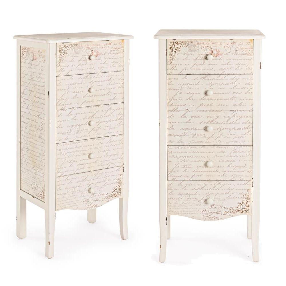 shakespeare 5c commode haute shabby chic en bois avec 5 tiroirs sediarreda. Black Bedroom Furniture Sets. Home Design Ideas