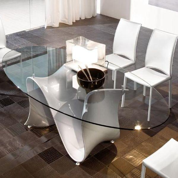 Wave o 8014 tavolo fisso tonin casa in tecnopolimero for Tavolo ovale in vetro allungabile