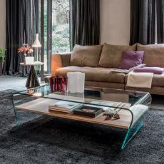 Amaranto 6811 - Tonin Casa glass coffee table with wooden or glass shelf, different finishes available