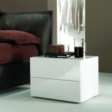 Enea 01 - Table de nuit Bontempi Casa, en bois et verre, avec tiroirs, disponible en différentes dimensions et couleurs