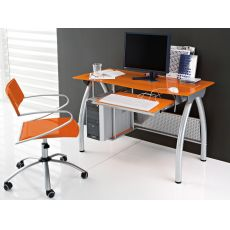 Porto - Office desk Domitalia made of metal and glass, with keyboard and processor holder