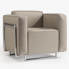 Cocktail 1P - Design armchair with metal structure, available in different finishes and colours