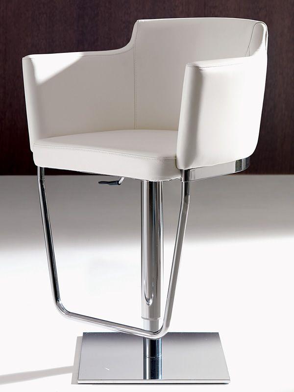 Gerry sgabello regolabile in altezza in metallo con for Sedie pelle bianca