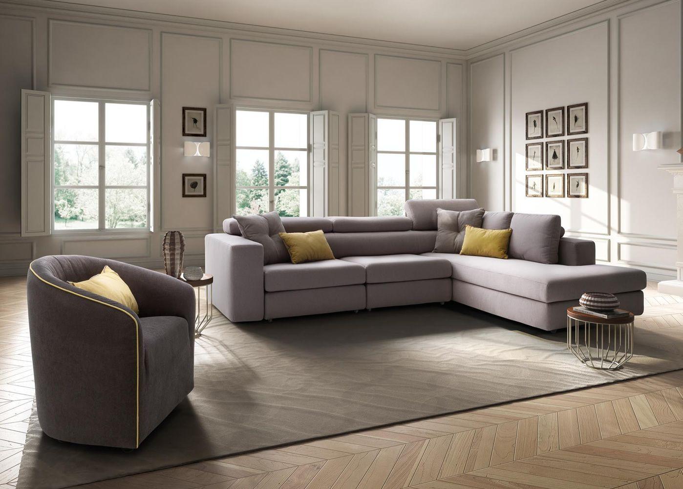 Paloma maxi divano a 3 posti mobili con chaise longue - Divano 4 posti con chaise longue ...