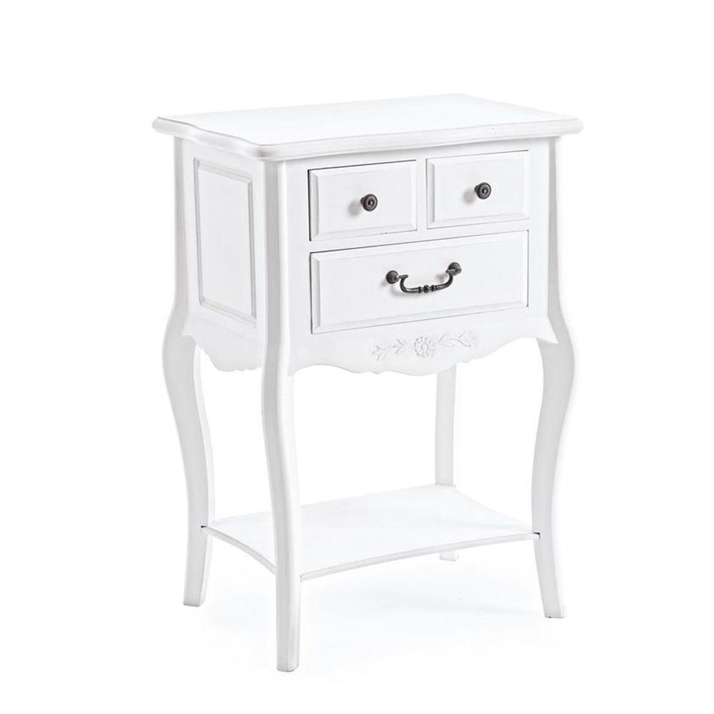 Margherita Side - Nachttisch Shabby Chic aus Holz, mit drei ...
